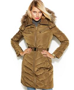 Michael Kors  - Petite Hooded Faux-Fur-Trim Belted Down Puffer Coat
