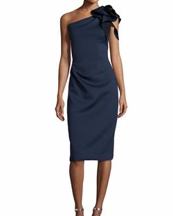 Jovani - One-Shoulder Bow Cocktail Dress