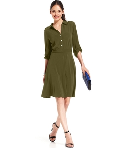 NY Collection  - Roll-Tab Shirtdress