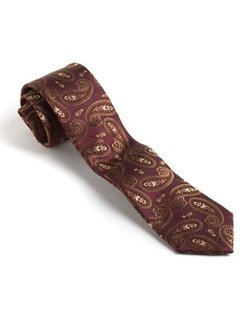 Black Brown - Classic Fit Silk Paisley Print Tie