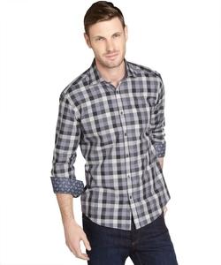 Stone Rose - Grey Plaid Cotton Button Front Shirt