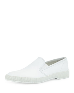 Prada  - Point-Toe Leather Slip-On Sneakers