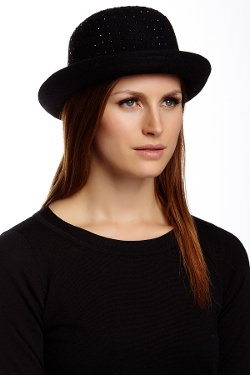 BCBGMAXAZRIA - Diamonte Bowler Wool Hat