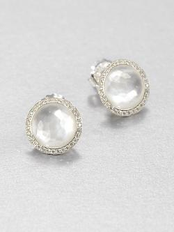 IPPOLITA  - Mother-of-Pearl Doublet & Diamond Stud Earrings