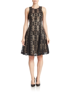 Maggy London - Lace Fit-And-Flare Dress
