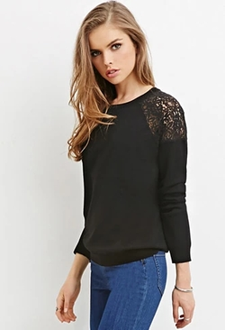 Forever21 - Lace-Paneled Sweater