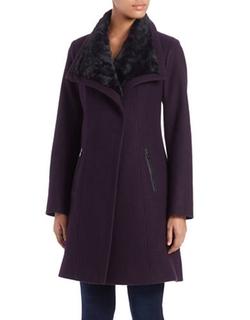 Jessica Simpson - Faux Fur-Collared Flared Coat