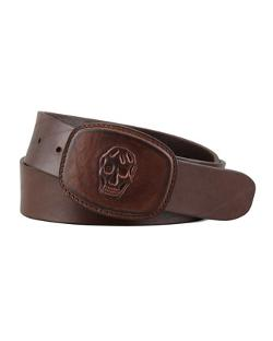 Alexander McQueen  - Skull-Embossed Leather Belt, Tan