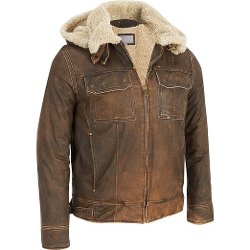 Wilsons Leather - Mens Vintage Leather Bomber Jacket W/ Faux-Shearling