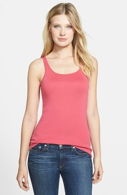 Eileen Fisher  - Scoop Neck Long Slim Organic Cotton Tank Top