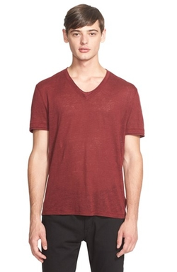 John Varvatos Collection - Linen Roll Trim V-Neck Tee
