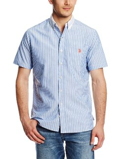 U.S. Polo Assn. - Slim Fit Short Sleeve Striped Oxford Shirt