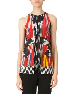 Altuzarra - Sleeveless Pleated Ikat Blouse