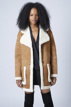 Topshop - Shearling Car Coat