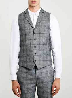 Topman - Wool Blend Check Suit Vest