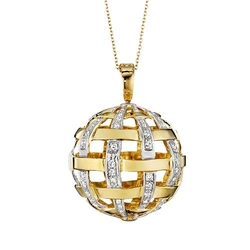 Gemorie - Gold Diamond Ball Pendant Necklace
