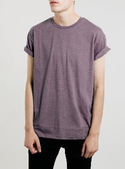 Topman - Plum Marl Roller Crew Neck T-Shirt