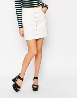 Asos - Denim Dolly A-Line Button Through Mini Skirt