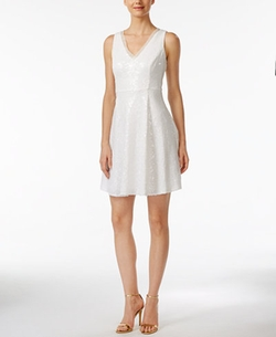 Calvin Klein - Sequined Sleeveless Fit & Flare Dress