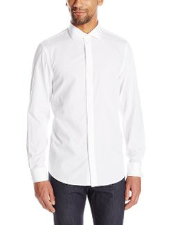 Perry Ellis - Slim-Fit Solid Button-Front Shirt