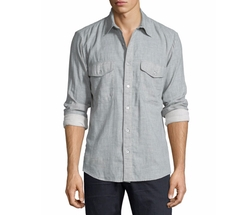 7 For All Mankind  - Double-Face Melange Long-Sleeve Sport Shirt