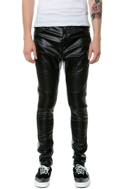 Square Zero - Faux Leather & Light Fleece Skinny Fit Long Pants