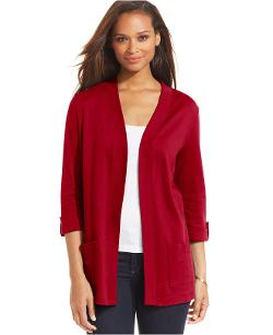 Karen Scott  - Roll-Tab-Sleeve Open-Front Cardigan