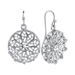 1928 - Simulated Crystal Openwork Flower Drop Earrings