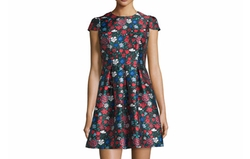 Shoshanna  - Cap-Sleeve Floral-Print Mini Dress