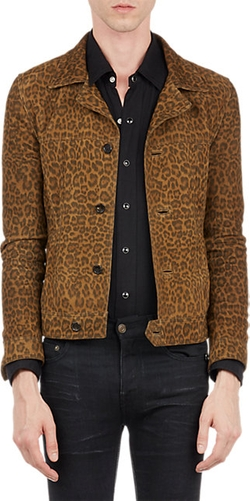 Saint Laurent  - Leopard Suede Jeans-Style Jacket