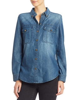Blank NYC  - Denim Fringe Shirt