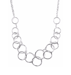 Nine West  - Silver-Tone Circle Frontal Necklace