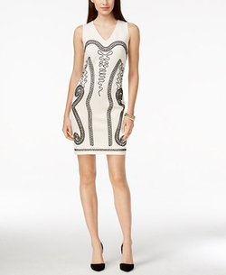 Spense - Embroidered V-Neck Sheath Dress