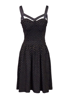 Anna-Kaci - Foil Dot Sleeveless Dress