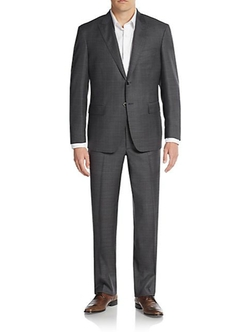 Ike Behar - Regular-Fit Windowpane Wool Suit