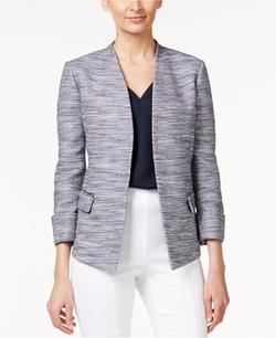 Alfani - Zip-Pocket Tweed Blazer