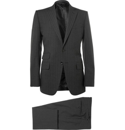 Tom Ford - Charcoal Slim-Fit Pinstriped Wool Three-Piece Suit