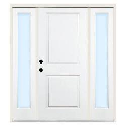 Steves & Sons - Premium 2-Panel Square Primed Steel Right-Hand Entry Door