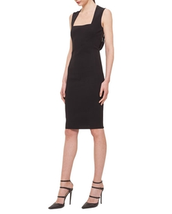 Akris  - Sliced-Back Square-Neck Sheath Dress