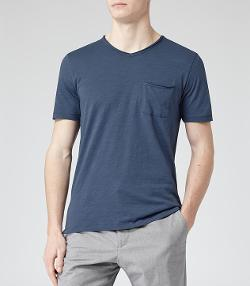 MAJESTIC  - RAW EDGE V-NECK T-SHIRT  NAVY