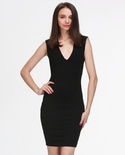 Romwe - Sleeveless Deep V Neck Backless Dress