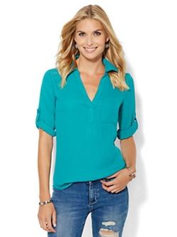 Soho Soft Shirt - One-Pocket Popover Top