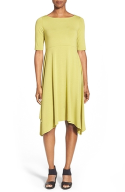 Eileen Fisher  - Asymmetrical Hem Jersey Dress