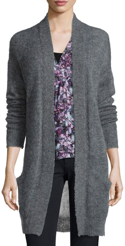 Rebecca Taylor - Long-Sleeve Pointelle-Knit Cardigan, Gray