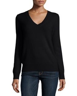 Neiman Marcus - Long-Sleeve Deep V-Neck Cashmere Top