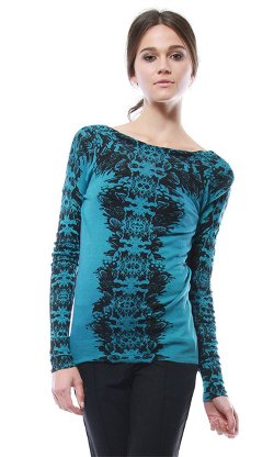 Cynthia Vincent - Feather Print Pullover