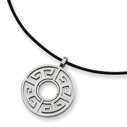 Chisel - Brushed Stainless Steel Tribal Circle Necklace on 18 Inch Leather Cord