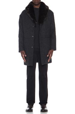 A.P.C.  - Marcel Tweed Coat with Fur Collar in Anthracite