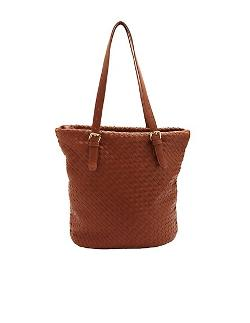 Charlotte Russe - Basket-Weave Faux Leather Tote Bag