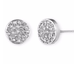 Anne Klein  - Silvertone And Crystal Button Stud Earrings